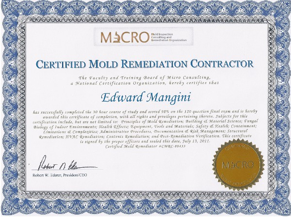Certified Mold Remediation Contractor Certification