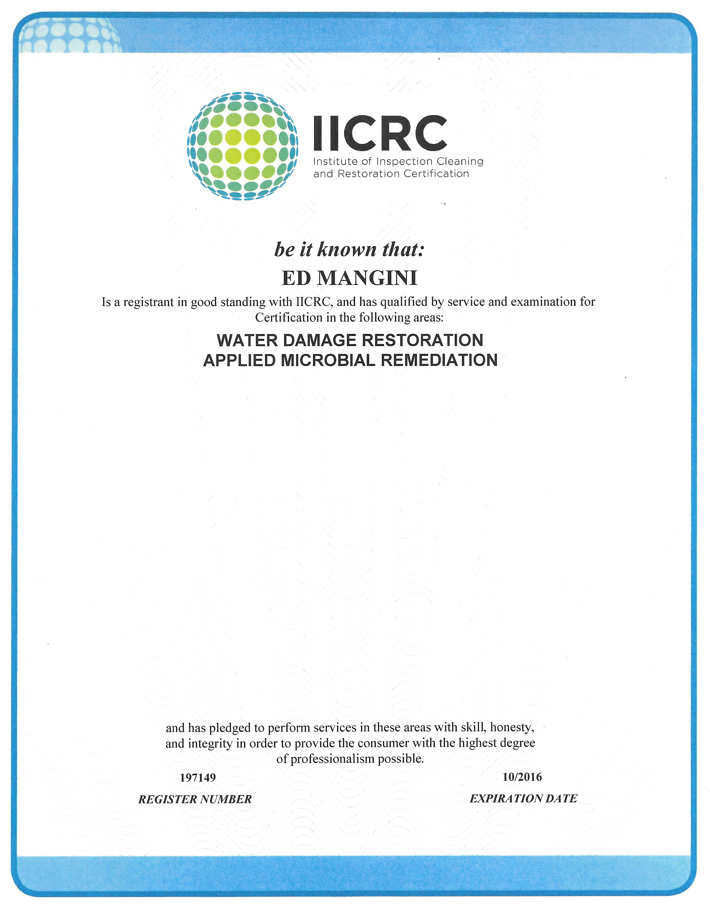 IICRC Certifications