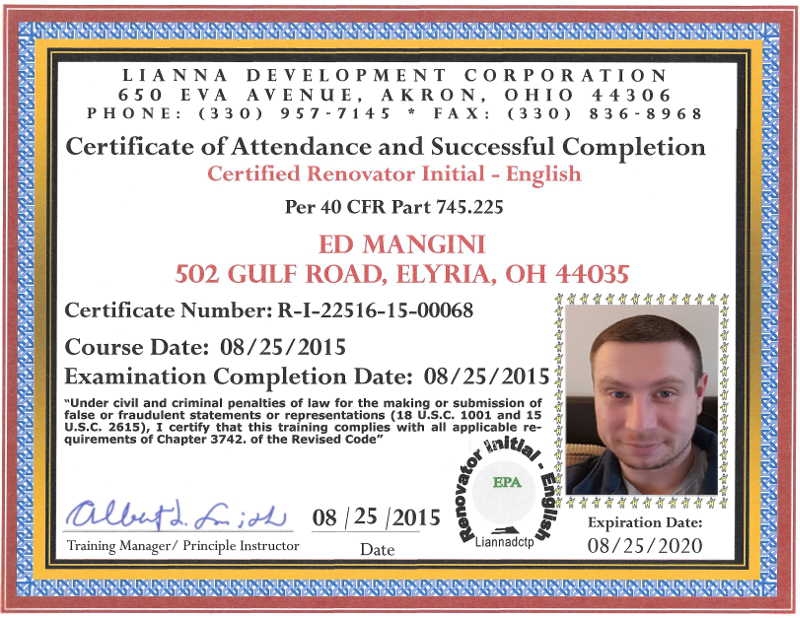 Lead Certified Renovator Certification